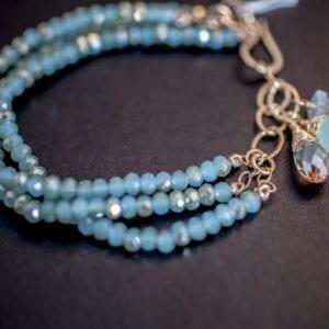 Beaded Three Strand Bracelet in Aquamarine