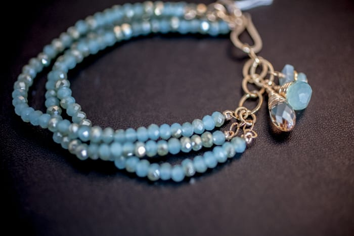 Beaded Three Strand Bracelet in Aquamarine