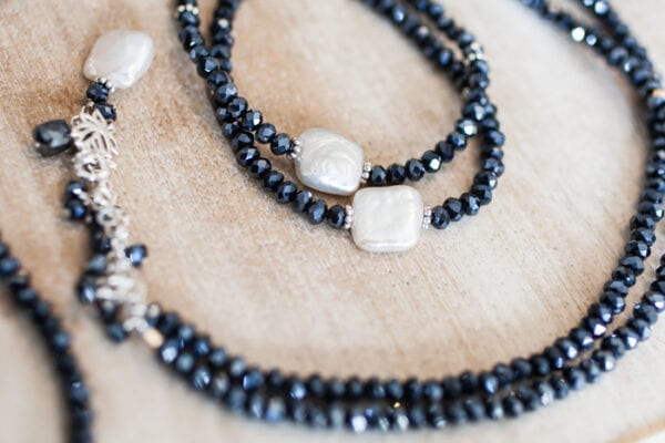 Wrap Necklace in Navy With Pearls
