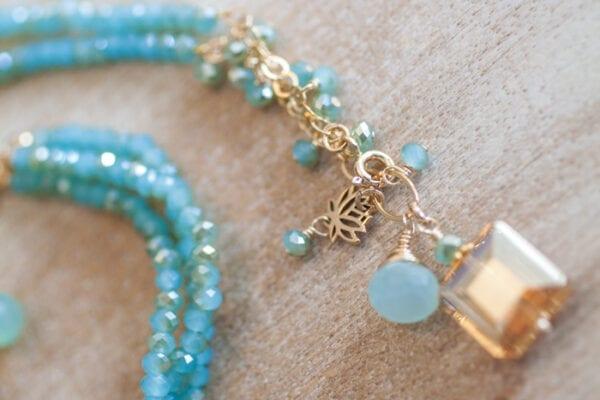 Aquamarine Beaded Necklace Detail